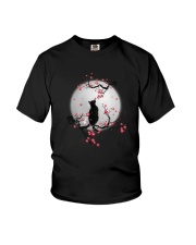 Black Cat Moon and Flower Youth T-Shirt thumbnail