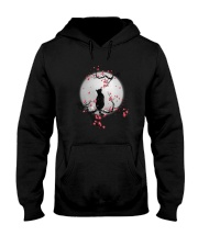 Black Cat Moon and Flower Hooded Sweatshirt thumbnail