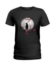 Black Cat Moon and Flower Ladies T-Shirt thumbnail