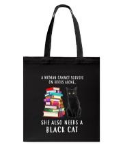 Black Cat and Book Tote Bag thumbnail