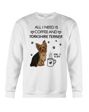 Coffee and Yorkshire Terrier Crewneck Sweatshirt thumbnail
