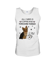 Coffee and Yorkshire Terrier Unisex Tank thumbnail