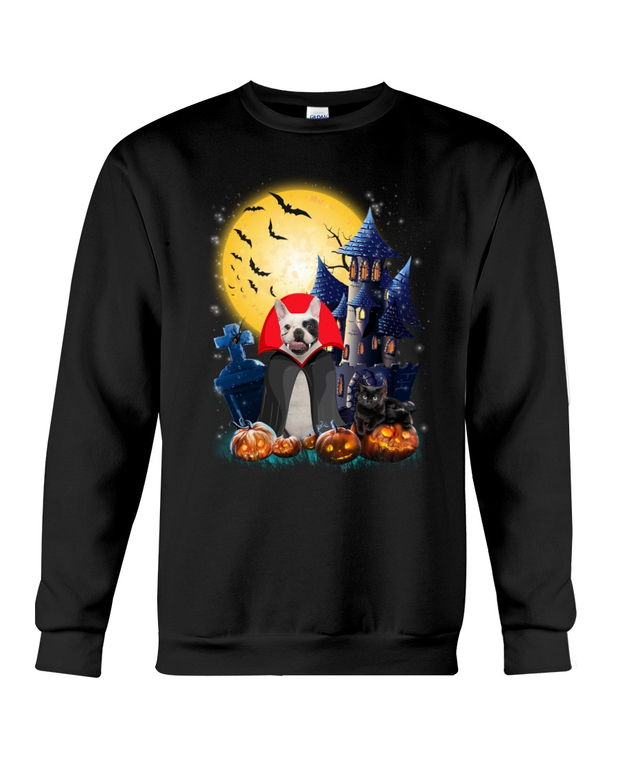 French Bulldog Dracular and Black Cat Crewneck Sweatshirt