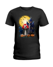 French Bulldog Dracular and Black Cat Ladies T-Shirt thumbnail