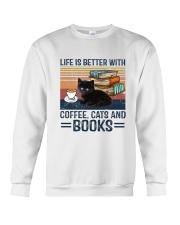 Cat Coffee Books G5930 Crewneck Sweatshirt tile