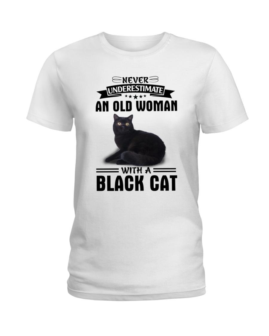 Black cat Never underestimate Ladies T-Shirt