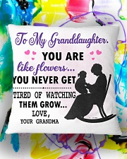 Family - To my granddaughter you like flower Square Pillowcase aos-pillow-square-front-lifestyle-17