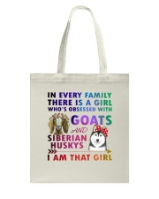 Siberian Husky And Goat Tote Bag thumbnail