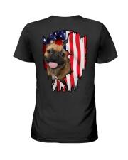 French Bulldog Behind Flag Ladies T-Shirt thumbnail