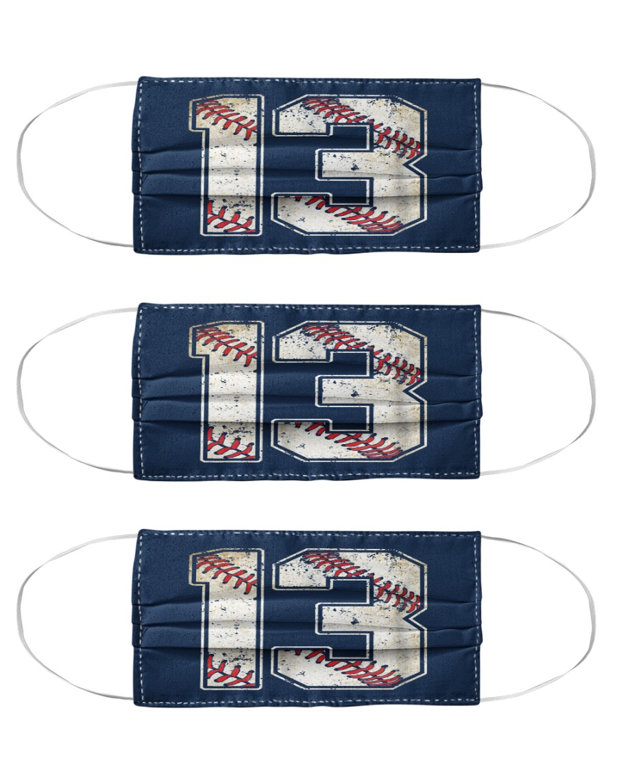 13 Baseball Jersey Number 13 Re Cloth Face Mask - 3 Pack