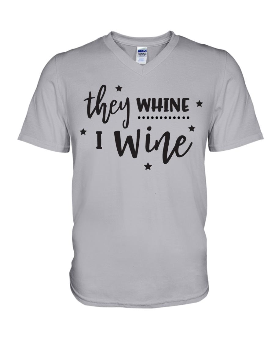 I Wine in black V-Neck T-Shirt