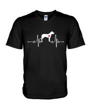 Dogo Argentino Mastiff heartbeat V-Neck T-Shirt thumbnail