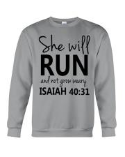 She Will Run And Not Grow Weary Crewneck Sweatshirt thumbnail