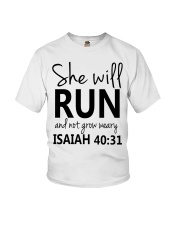 She Will Run And Not Grow Weary Youth T-Shirt thumbnail