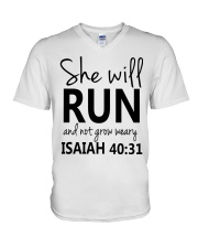 She Will Run And Not Grow Weary V-Neck T-Shirt thumbnail