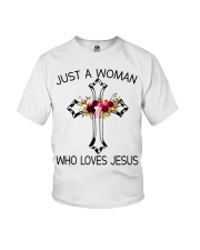 Just A Woman Who Loves Jesus Youth T-Shirt thumbnail