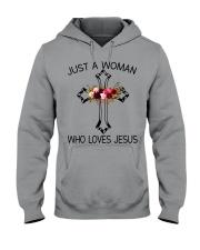 Just A Woman Who Loves Jesus Hooded Sweatshirt thumbnail