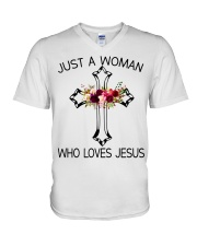 Just A Woman Who Loves Jesus V-Neck T-Shirt thumbnail