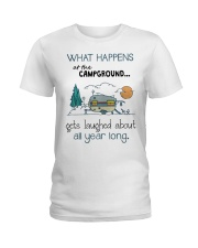 What happens at the Campground Ladies T-Shirt front