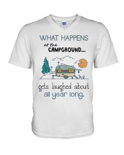 What happens at the Campground V-Neck T-Shirt thumbnail