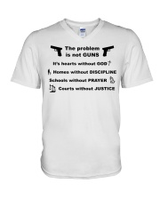 The problem is not GUNS V-Neck T-Shirt thumbnail