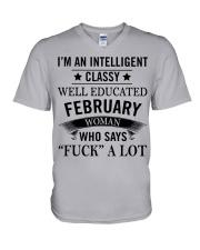 I'M AN INTELLIGENT FEBRUARY WOMAN V-Neck T-Shirt thumbnail
