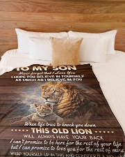 """I BELIEVE IN YOU - TO SON FROM DAD Large Fleece Blanket - 60"""" x 80"""" aos-coral-fleece-blanket-60x80-lifestyle-front-02"""