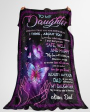 """I THINK ABOUT YOU - TO DAUGHTER FROM DAD Large Fleece Blanket - 60"""" x 80"""" aos-coral-fleece-blanket-60x80-lifestyle-front-10"""