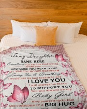"IT A BIG HUG - TO DAUGHTER FROM DAD Large Fleece Blanket - 60"" x 80"" aos-coral-fleece-blanket-60x80-lifestyle-front-02a"