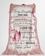 "IT A BIG HUG - TO DAUGHTER FROM DAD Large Fleece Blanket - 60"" x 80"" aos-coral-fleece-blanket-60x80-lifestyle-front-10"