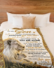 """BELIEVE IN YOURSELF - PERFECT GIFT FOR SON Large Fleece Blanket - 60"""" x 80"""" aos-coral-fleece-blanket-60x80-lifestyle-front-02"""