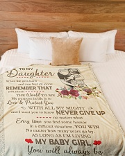 """NEVER GIVE UP - BEST GIFR FOR DAUGHTER Large Fleece Blanket - 60"""" x 80"""" aos-coral-fleece-blanket-60x80-lifestyle-front-02"""