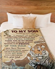 """IN MY HEART - GREAT GIFT FOR SON Large Fleece Blanket - 60"""" x 80"""" aos-coral-fleece-blanket-60x80-lifestyle-front-02"""