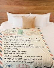 """A BIG HUG - TO DAUGHTER FROM DAD Large Fleece Blanket - 60"""" x 80"""" aos-coral-fleece-blanket-60x80-lifestyle-front-02"""