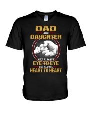 DAD AND DAUGHTER ALWAYS HEART TO HEART V-Neck T-Shirt tile