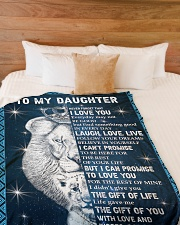 "THE GIFT OF LIFE - DAD TO DAUGHTER Large Fleece Blanket - 60"" x 80"" aos-coral-fleece-blanket-60x80-lifestyle-front-02"
