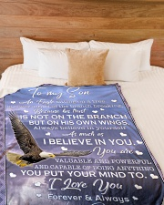 """AS MUCH AS I BELIEVE IN YOU Large Fleece Blanket - 60"""" x 80"""" aos-coral-fleece-blanket-60x80-lifestyle-front-02"""