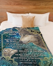 """BELIEVE IN YOURSELF - DAUGHTER GIFT WITH WOLF Large Fleece Blanket - 60"""" x 80"""" aos-coral-fleece-blanket-60x80-lifestyle-front-02"""