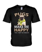 Buy Pugs Makes Me Happy You Not So Much Funny Pug V-Neck T-Shirt thumbnail
