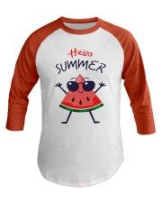 Hello Summer Watermelon Funny T-shirt Baseball Tee thumbnail