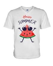 Hello Summer Watermelon Funny T-shirt V-Neck T-Shirt thumbnail