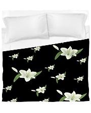 White flower on black Duvet Cover - King thumbnail