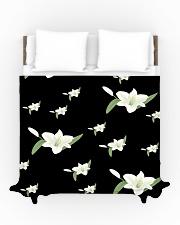White flower on black Duvet Cover - Queen aos-duvet-covers-88x88-lifestyle-front-01