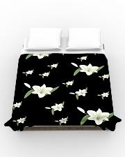 White flower on black Duvet Cover - Queen aos-duvet-covers-88x88-lifestyle-front-02