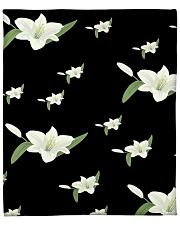 """White flower on black Fleece Blanket - 50"""" x 60"""" thumbnail"""