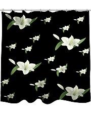 White flower on black Shower Curtain thumbnail