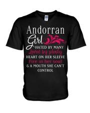 Andorran Girl V-Neck T-Shirt thumbnail