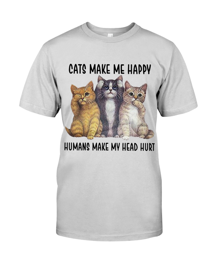 Cats make me happy Premium Fit Mens Tee