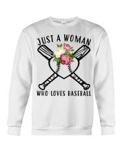 just a woman who loves baseball Crewneck Sweatshirt thumbnail