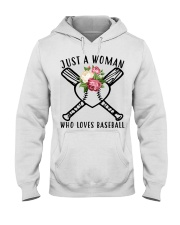 just a woman who loves baseball Hooded Sweatshirt thumbnail